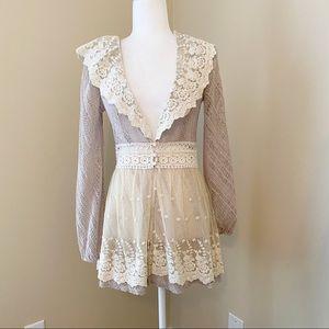 Ryu Lace Crochet Long Sleeve Cardigan Top -S